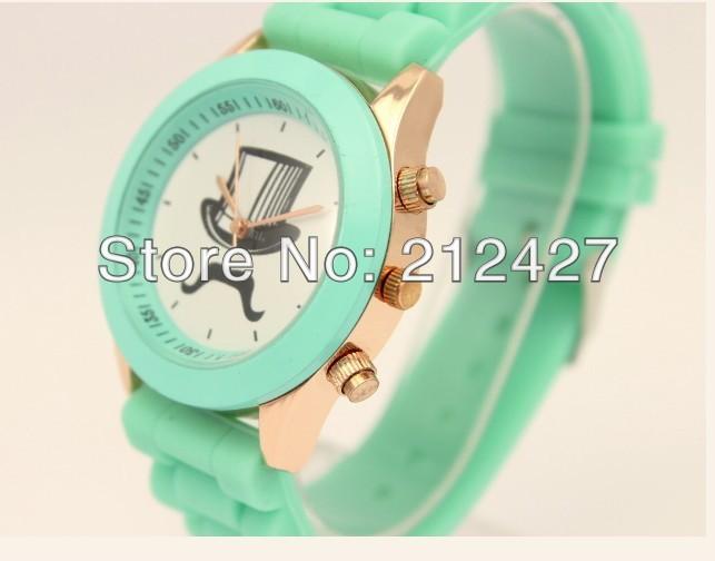 1pcs/lot freeshipping Fashion design cap mustache watch,silicone band,quartz movement hot discount sales,novelty item watch(China (Mainland))