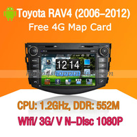 Android Toyota RAV4  Car DVD player GPS Navigation 3G Wifi Bluetooth Touch Screen USB SD support Virtual N Disc 1080P HD