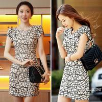 Summer Women Ladies Short Sleeve Geometric Print Bodycon Casual Dress Novelty Party Pencil Mini Vestidos Free Shipping 1000