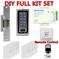 W1 DIY 125KHz RFID Waterproof No Touch Door Access Control System Kit + Strike Lock + Remote Control