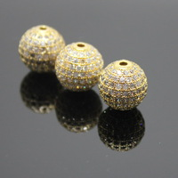 Free Shipping! Boutique Micropave Round Shape Beads, Zircon micro inlay Beads,Brass Zircon beads