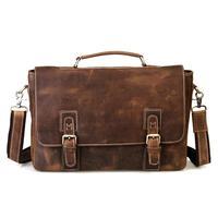 Cattle crazy horse leather commercial man bag male fashion vintage genuine leather cowhide handbag one shoulder briefcase 8069