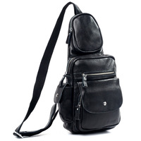 Cattle 2013 fashion genuine leather chest pack single shoulder bag messenger bag black big capacity 3045
