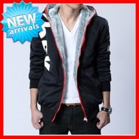 2013  Men's Big  Size (M-5XL) Fashion Hooded Collar Thick  Artificial Velvet Sport  Cardigan Overcoat  G1683