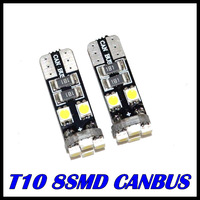 100pcs/Lot canbus T10 8 SMD 3528 LED Canbus No OBC Error 194 168 W5W T10 8SMD LED Interior Instrument Light bulb lamp White