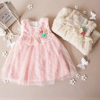 Retail 2013 new baby girl dress children clothing kids Christmas rose flower princess lace fur dresses for autumn -summer A92