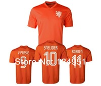 2014 world cup Netherlands national team Robin van V. Persie #9 mens football soccer jersey embroidery customize logo orange