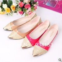 Free shipping low heel shoes lighter pointed steel-toed women's flat shoes