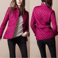 2013 new Hot design fashion women's plaid quilting wadded jacket outerwear women trench coat