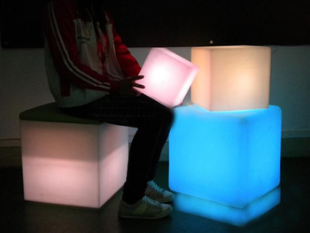 free shipping  rgb led cube table and chairs