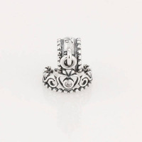 New Royal Imperial Crown 925 Sterling Silver Screw Core Loose Spacer Dangle Charm Bead, Suitable for Pandora Bracelet B09