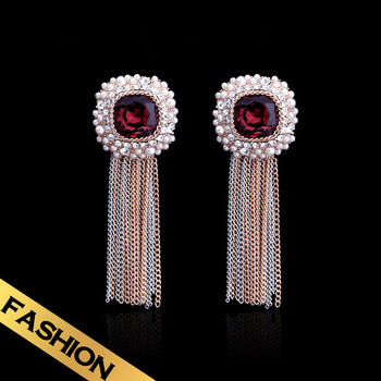 Special Bright Red Sri Lanka Zircon Earrings Free Shipping Romantic Tassel Earrings Magnificent Medieval EH13A080517