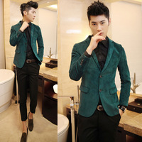 men's fashion new Fashion slim suit corduroy double buckles single vent a206 multi-color  dark green blazer  free shipping