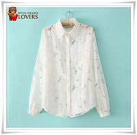 Good quality new brand women's Chiffon shirts, women's blouses long sleeve lace, shirt women slim shirt