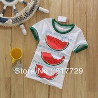 Wholesale 1 lot = 5 pics 2013 cheap summer tee t shirt boy clothing kids new style best cartoon girls watermelon supernova sale