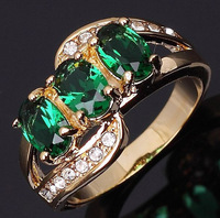 Fashion.Jewelry Woman's 10KT Gold  Ring NO32 Size 6 7 8 9 Sapphire Emerald Gift.Free Shipping