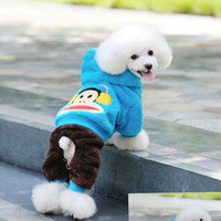 The pet dog coral fleece cotton-padded clothes during the spring and autumn teddy