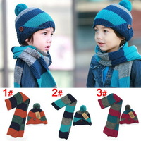 New Fashion Hats Children Winter Warm Hat+Scarf Two Piece Set Knitted Woolen Fur Ball Caps Protector Kids Ear Cap For Boys