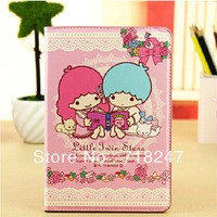 Free Shipping High Quality Fashion Lovely Little Twin Stars Series PU Leather Case for iPad Mini Protective Defender Covers