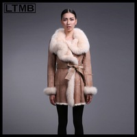LTMB Women's genuine leather and fur coat with turn down fox fur collar long style winter  2014