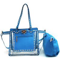 Brand Inspired Designer Leather Shoulder Bag PVC Handbags Women's Pyramid Studded 2-in-1 Transparent Tote Bag