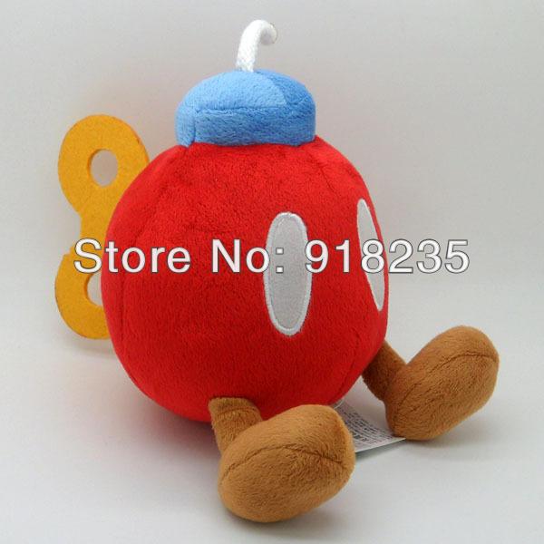 "Free Shipping EMS 100/Lot Super Mario Bros Plush Doll Soft Figure 5"" RED BOB-OMB BOMB Wholesale(China (Mainland))"
