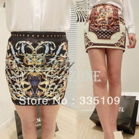 2013 Fashion Style Vintage Short Skirt High Waist Elastic MINI Skirt The Pencil Skirt Of Women Black / White 13338