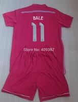 BALE #11 JAMES #10 RONALDO #7 Real madrid away Pink kids child boys soccer jersey kits(shirts+shorts) 14/15 + can custom names