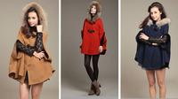 Princess Style Women Poncho Fur Hooded Winter Coat Jacket Ladies Cape Outerwear