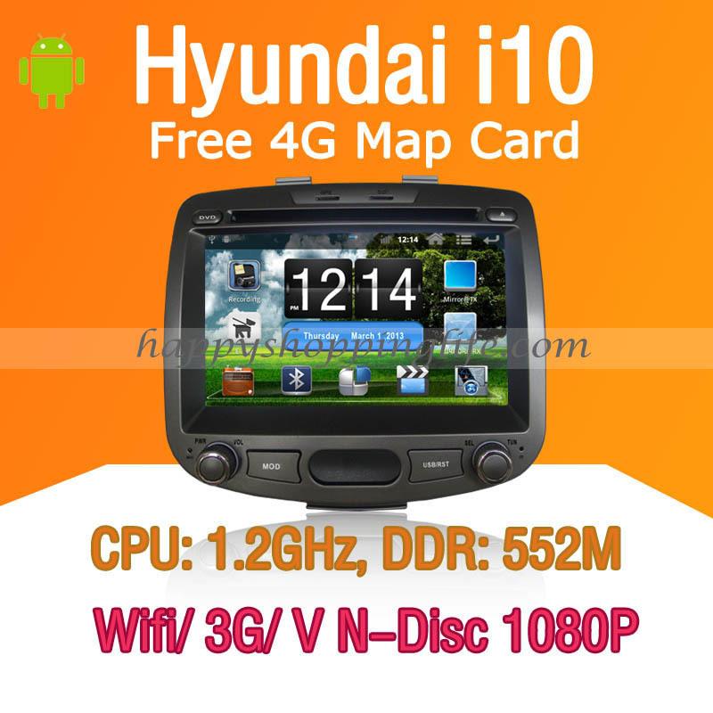 Android Hyundai i10 Car DVD player GPS Navigation 3G Wifi Bluetooth Touch Screen USB SD support Virtual N Disc 1080P HD(China (Mainland))