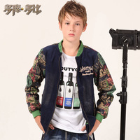 Children's clothing male child medium-large jacket outerwear autumn  print corduroy