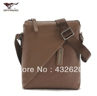 Septwolves genuine leather male backpack genuine leather male casual shoulder bag full leather cross-body street small man bag
