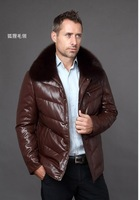 freeshipping Septwolves men's coat down clothing genuine leather business casual down coat fox fur sheepskin down coat male