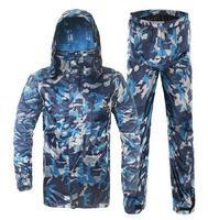 Casual water-resistant double layer split male adult 190T nylon raincoat rain pants set free shipping C92211