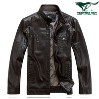 FREESHIPPING men's autumn and winter clothing SEPTWOLVES leather jacket male stand collar leather clothing goat leather coat
