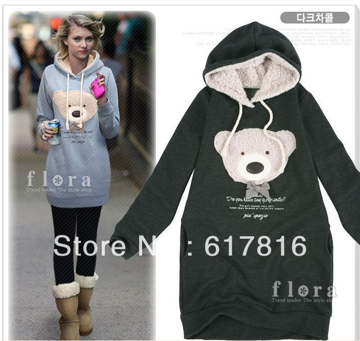 NEW FASHION Brand HOT!Autumn women's bear sweatshirt pullover sweatshirt long outerwear with hood outerwear,running sport cloth(China (Mainland))