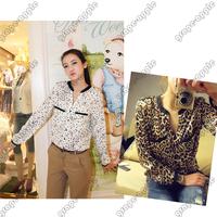 Women V Neck Long Sleeve Shirt Leopard and Stars Pattern GWF 6022