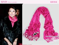 Rose Red female models simple solid color scarves cashmere scarves Winter shawls for women