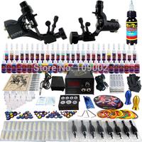Complete Tattoo Kit 2 Pro Rotary Machine Guns 54 Inks Power Supply Needle Grips TK255