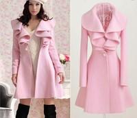 fashion 2014 winter women's autumn outerwear wool trench long pink turn down collar ruffles coat  mink natural long sleeve