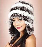Women's  Winter wamer 100% Rex Rabbit Fur hats otter's Rabbit hair hats Balls Hats Headdress Cap Protective ears hat