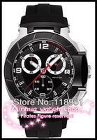 Free Shipping+2013 new hot fashion casual large dial Chronograph Rubber Strap Sapphire Waterproof Calendar Mens Watches