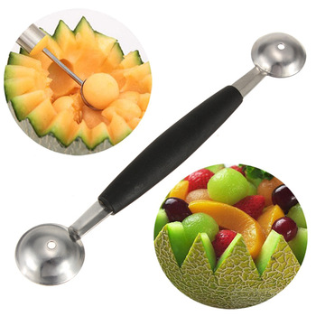 Free Shipping New Stalinless Steel Cook Dual Double Melon Baller Ice Cream Scoop Fruit Spoon