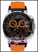 2014 Original Fashion casual big dial chronograph sapphire scratch rubber waterproof luxury Swiss men's watch with calendar