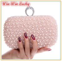 Hot Style Women's Beaded Handbag. Bridal Duplex Full Pearl Diamond Ring Clutch Purse. Chain Evening Bag Shoulder Messenger