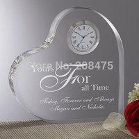 Free Shipping,50PCS/LOT,wedding crystal clock,crystal heart clock,glass table clock for wedding present