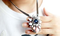 Recommend: new fashion jewelry designer rainbow flower pendant necklaces for women gifts, 2pcs/lot, high quality