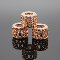 2014 New Prodcut 12mm Rose Gold Hollow Cylindrical Big Hole beads Zircon Pave Jewelry Finding