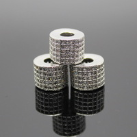 Wholesale European Beads 10*8mm Silver Metal Beads With Zircon, Cylinder-shaped Beads 3pcs/lot Free Shipping!
