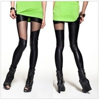 2013 black sport lace leggins Irregular mosaic mesh leather pants wholesale Splicing sexy pantyhose free shipping